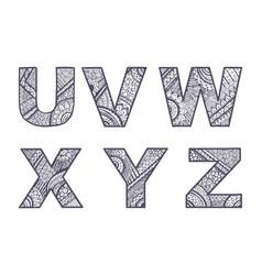 letters set u-z vector image vector image