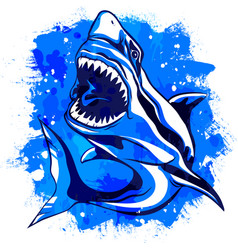 color watercolor aggressive shark with open mouth vector image