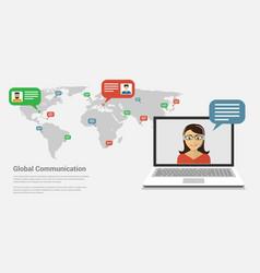 global communication banner vector image vector image