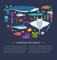 sea life concept card vector image vector image