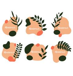Abstract emblem label or logo design set liquid vector