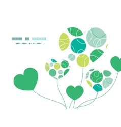 Abstract green circles heart symbol frame vector