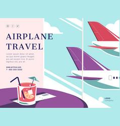 airplane travel social media post layout vector image