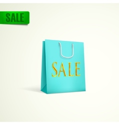 Azure shopping bag sale concept vector