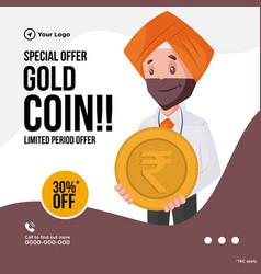 banner design gold coin vector image