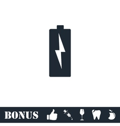 Battery Charging icon flat vector