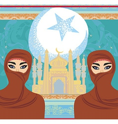 Beautiful muslim women on mosque background vector