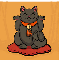 black maneki neko talisman cat beckoning wealth vector image
