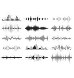Black sound waves music audio frequency voice vector