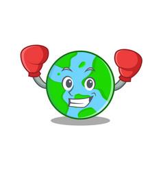 Boxing world globe character cartoon vector