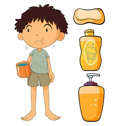 Boy holding cup and other objects vector