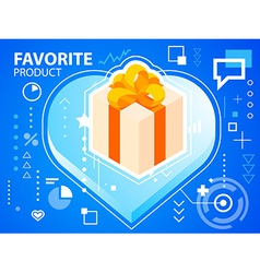 Bright heart and gift box with bow on blue b vector
