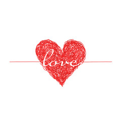 Bright red complicated lined heart with love word vector