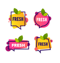 bright speech bubble sticker with leaf fresh word vector image