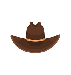 Brown cowboy hat decorated with golden ribbon vector