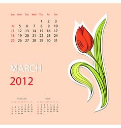 Calendar for 2012 march vector
