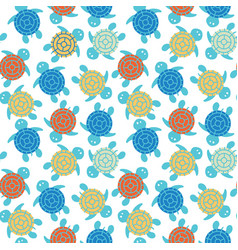 Cartoon colorful turtles seamless pattern vector