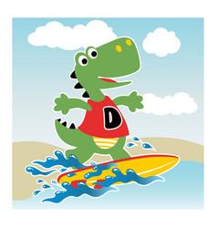 cartoon dinosaurs surfer vector image