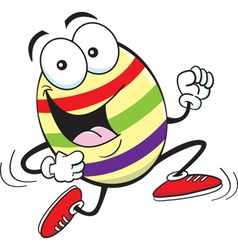 Cartoon Easter egg running vector
