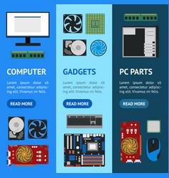 Cartoon pc components banner vecrtical set vector