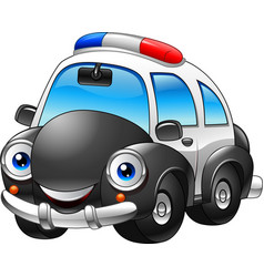 Cartoon police car character vector