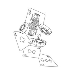 casino falling cards and chips gambling symbol vector image