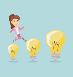Caucasian business woman jumping on light bulbs vector