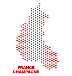 champagne province map - mosaic of valentine vector image