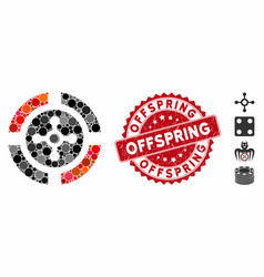 Collage roulette icon with scratched offspring vector