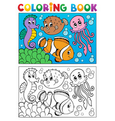 coloring book with marine animals 4 vector image