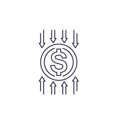 Cost reduce optimization efficiency icon vector