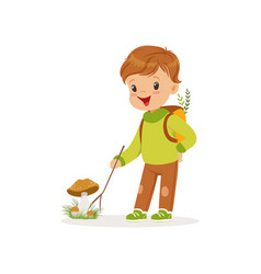 Cute little boy in warm clothing collecting vector