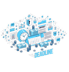 Deadline concept table clock and calendar vector