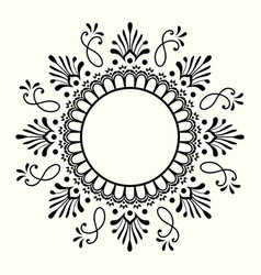decorative black and white frame with circular vector image