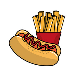 Delicious hot dog with tasty fries french vector