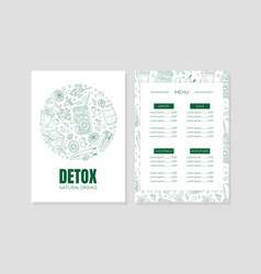 diet menu template with contours fruits and vector image