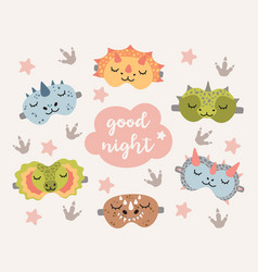 dino sleep masks set cute dinosaur eye mask vector image