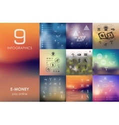E-money infographic with unfocused background vector