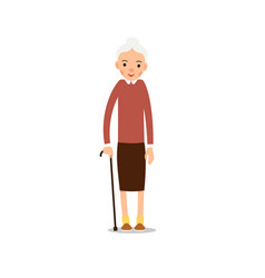 Elderly woman old woman stand and rests on a vector