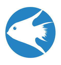Exotic fish silhouette icon vector
