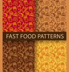 fast food seamless patterns vector image