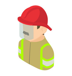 firefighter man icon isometric 3d style vector image