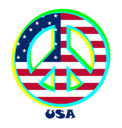 Flag usa as a sign of pacifism vector