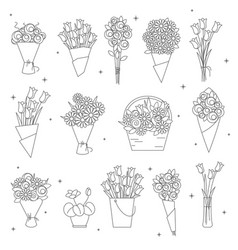flowers and bouquet icons vector image