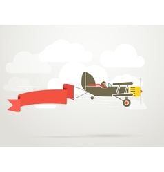 Flying vintage plane with the banner vector