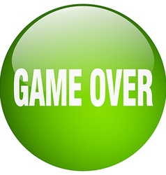 Game over green round gel isolated push button vector