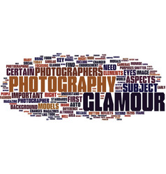 Glamour photography text background word cloud vector