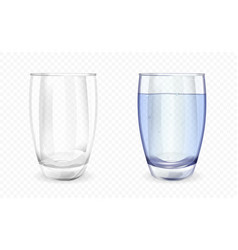 Glass or cup filled with water and empty vector