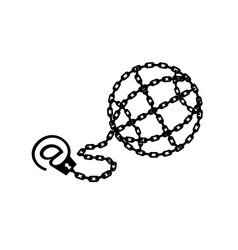 globe chained and shackled modern metaphor phone vector image