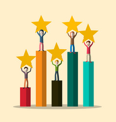 graph with people and stars rating symbol vector image